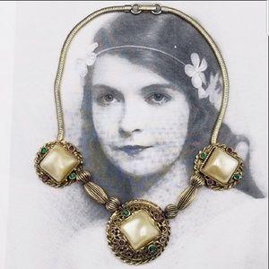 Vintage Selro Selini  pearl rhinestone necklace